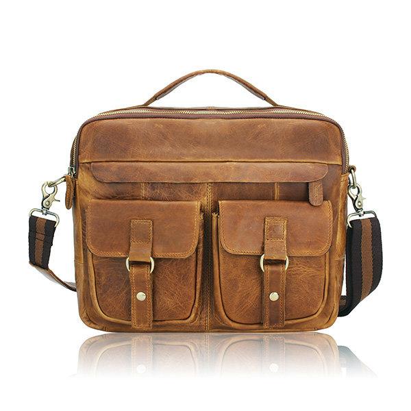 4a3816b2ad Men s Retro Casual Bag Genuine Leather Business Shoulder Bag Messenger -  US 88.17 sold out