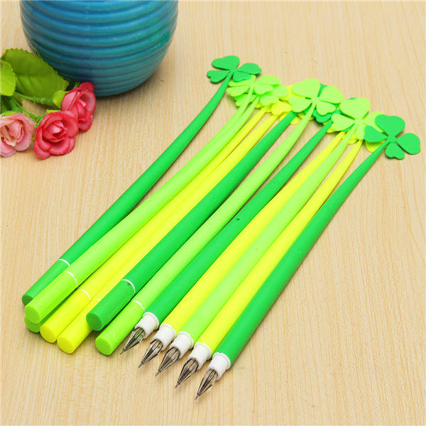 12pcs Green Four Leaf Clover Design Roller Sign Gel Pen Black