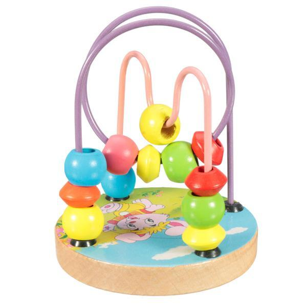 Children Kids Baby Colorful Beech Wood Mini Around Beads Educational Game Toys Maze Wire Blocks Building Kits