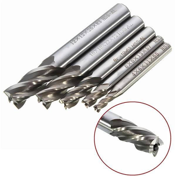 Drillpro DB-M2 5pcs 4/6/8/10/12mm 4 Flute End Mill Cutter HSS Straight Shank Drill Bits