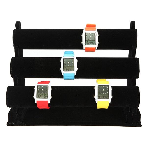 12 Inch Reloj de 3 niveles Negro Joyas Pantalla Soporte de soporte