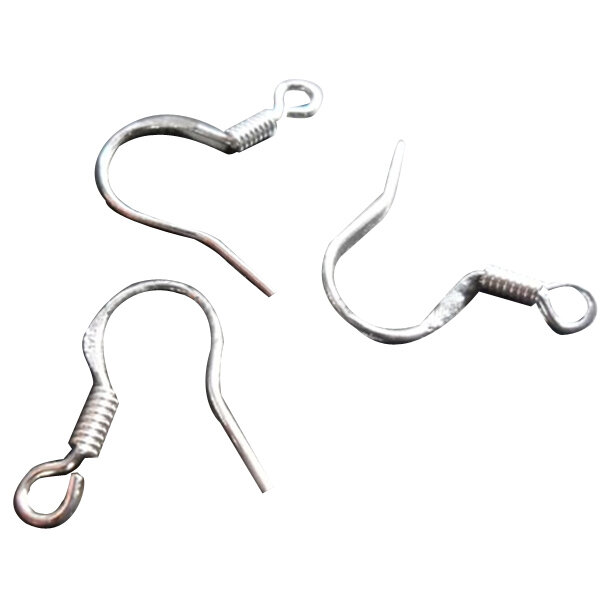 Silver Plated Unisex Fish Dangle Metal Earring Hooks Coil DIY Finding