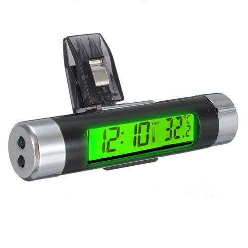LCD Clip-on Digital Backlight Automotive Thermometer Clock Calenda