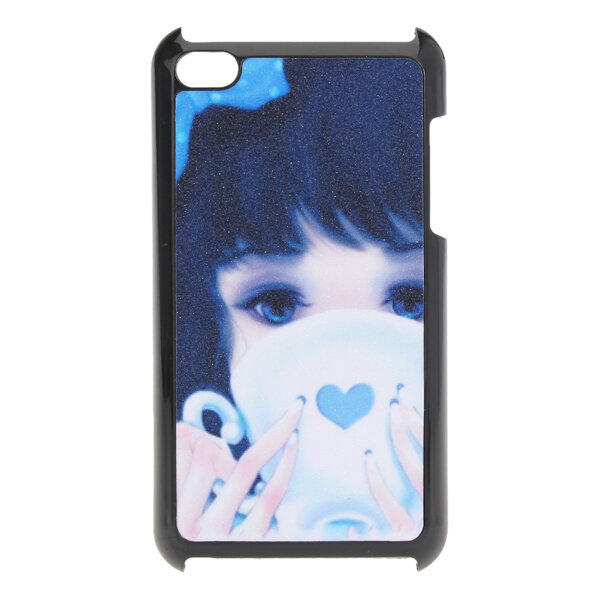 Blue Cute Girl Hard Back Plastic Caso cubierta de piel para iPod Touch 4