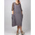 M-5XL Vintage Women Solid Color Side Pockets Cotton Dress