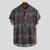 Tejido de rayas para hombre Impreso Chevron Stand Collar Manga corta Camisas henley sueltas
