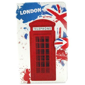 Telephone Booth Pattern Folio PU Leather Case Cover For Samsung T700