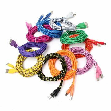 3M Micro USB Strong Round Braided Data Sync Charger Cable For Tablet Cell Phone