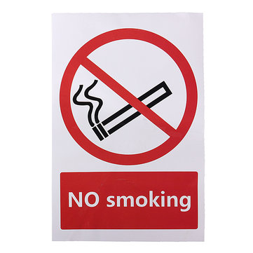 No Smoking Warning Sign Logo PVC Sticker 100X150mm