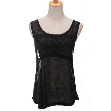 See Through Vest For Women Crew Neck Loose Tank Tops