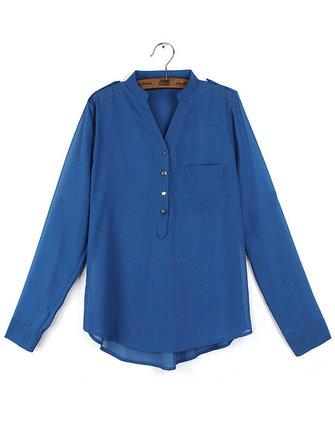 Women Casual Elegant Loose Long Sleeve V-neck Chiffon Blouse