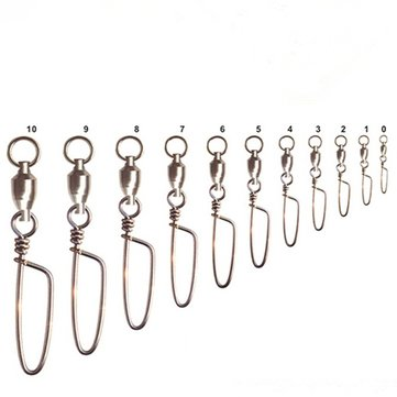 20pcs Fishing Ball Bearing Swivel Coastlock Snap Connector Salt Water 1-9#
