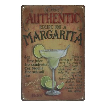 Authentic Margarita Tin Sign Vintage Metal Plaque Poster Bar Pub Home Wall Decor