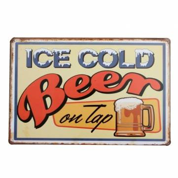 Ice Cold Beer Tin Sign Vintage Metal Plaque Poster Bar Pub Home Wall Decor