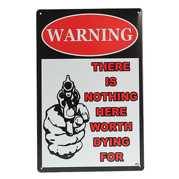 Gun Warning Tin Sign Retro Vintage Metal Plaque Bar Pub Wall Decor