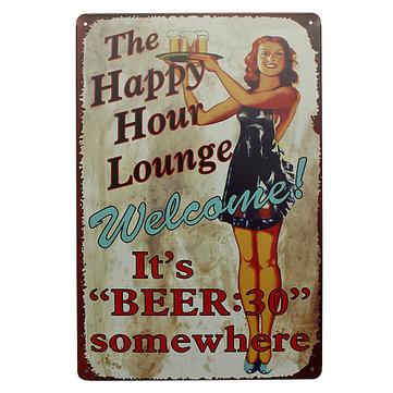 Lounge Beer Tin Sign Vintage Metal Plaque Pub Bar Home Wall Decor