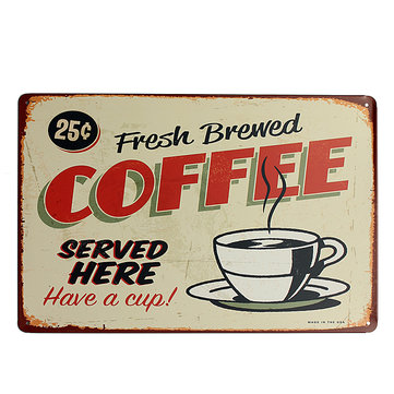 Coffee Tin Sign Retro Vintage Metal Plaque Bar Pub Cafe Wall Decor