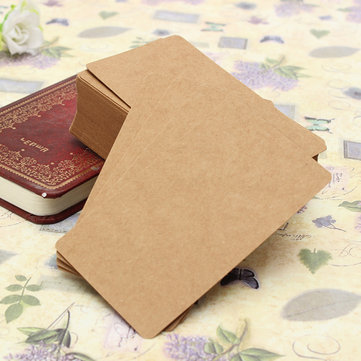 100pcs Kraft Paper Card Blank Kraft Cardboard Word Card Message Card