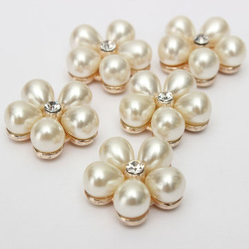 5pcs Plum Flower Rhinestone Ivory Pearl Buttons Golden Tone Shank
