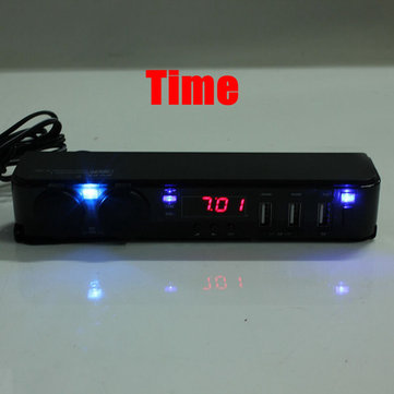 12V Car Cigarette Lighter Socket USB Adapter Charger + Digital Voltmeter LED