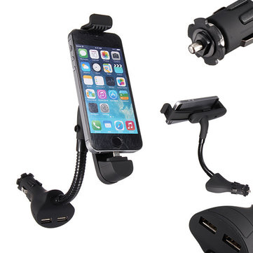 Car Cigarette Lighter USB Charger Mount Holder For iPhone+Dual USB