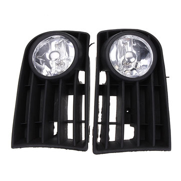 12V Fog Light Lamp Bulb Grille Grill Set For VW GOLF Rabbit 03-09