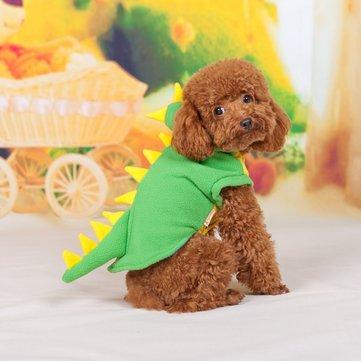 Green Dinosaur Teddy Transform Polar Fleece Small Pet Cosplay Coat
