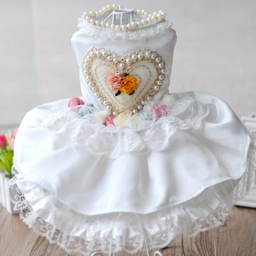 Summer Dog Dress Skirt Puppy Dog Wedding Dress Simulated Pearl Dog Skirt