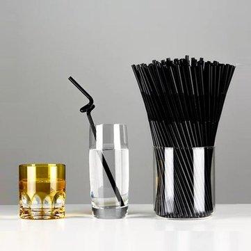 80Pcs Plastic Black Flexible Drink Straw Party Birthday Wedding Drinking Bendy