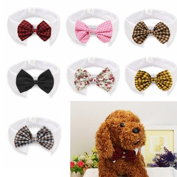 Cat Dog Bow-tie Puppy Dog Bow Tie Mandarin Collar Grid Tie