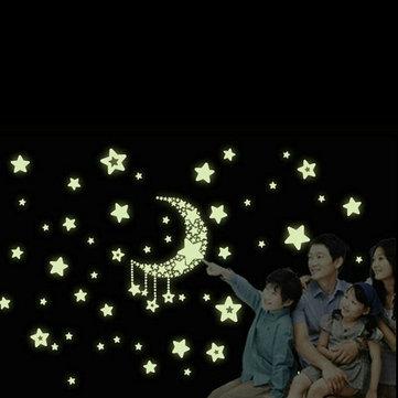 القمر نجوم ملصقات الحائط نوكتيلوسنت بك القابل للإزالة صائق ديكور المنزل