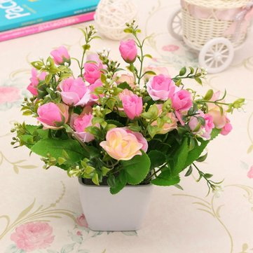 Artificial Silk Rose Flower Plastic Pots Home Garden Wedding Decoration