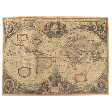 Retro old antique world map poster style large brown paper voyage retro old antique world map poster style large brown paper voyage wall chart gumiabroncs Images