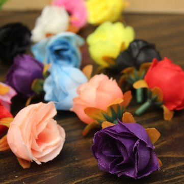10Pcs 8 Colors Silk Roses Flower Heads Simulation Flowers Artificial Decoration
