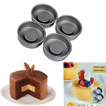 4pcs Non-stick Layer Cake Pans Molds Pudding Sandwich Pan Mold