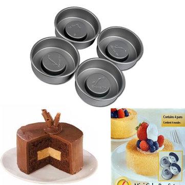 4pcs Non-stick Layer Cake Pans Molds Pudding Sandwich Pan Mold