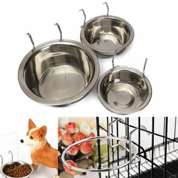 Stainless Steel Hang Dog Bowl Pet Rabbit Bird Cat Dog Food Water Cage Hook Cup