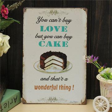 사랑 케이크 판금 그림 복고풍 금속 그림 펍 클럽 카페 포스터 서명 틴 장식