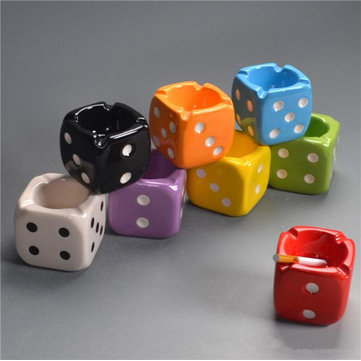9 cm Creative Dice Ashtray Ceramic Smoking Ash Tray Home Office Decor Ash Bin