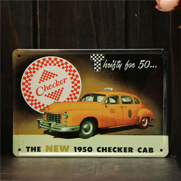Checker CAB Sheet Metal Drawing Vintage Metal Painting Tin Home Caft Wall Poster Sign