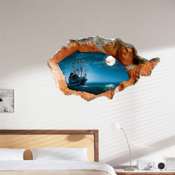 3D Night Boat Wall Decals Wall Hole Wall Art Stickers 38 Inch Removable Home Decor
