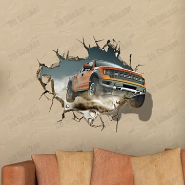 3D Off Road Vehicle Decals Wall Hole Wall Art Stickers 27 Inch Removable Home Decor