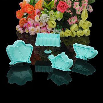 4Pcs Alarm Clock Teapot Fondant Cake Mold Biscuit Cookie Plunger Cutters Sugar Craft Tool
