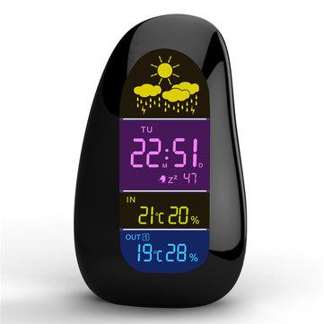 무선 날씨 역 시계 자갈 LED 알람 시계 무선 날씨 보고서