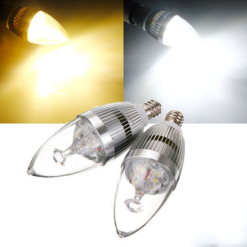 E12 3.5W White/Warm White 3 LED Chandelier Silver Candle Bulb 85-265V
