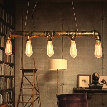 Bar Personality Industrial Pipe Edison Bulbs Pendant Light 110-220V