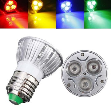 E27 3W AC 220V 3 LEDs Red/Yellow/Blue/Green LED Spotlight Bulbs