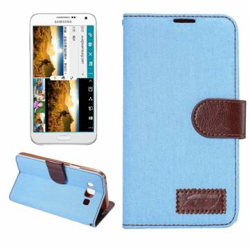 Wallet Leather Case Jeans Pattern TPU Card-slot Cover For Samsung E7