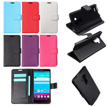 Lichi Grain PU Leather Flip Wallet Card Stand Case Cover Skin For LG G4