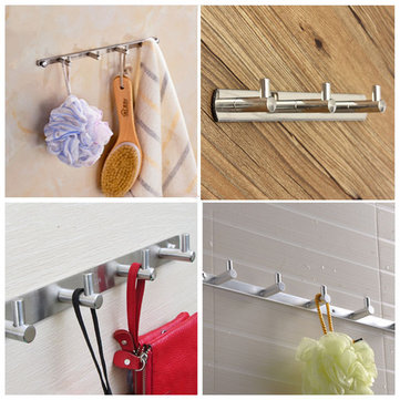 3 Hooks Silver Clothes Hat Towel Robe Rack Stainless Door Holder Wall Hanger